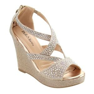 Bella Marie Champagne sequin Wedges